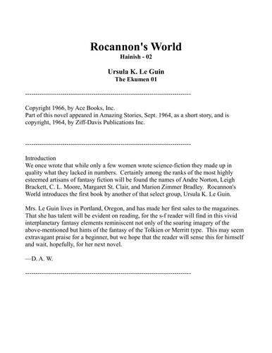 Rocannon's world (1977, Harper & Row)