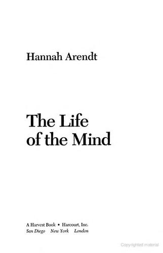 The life of the mind (1981, Harcourt Brace Jovanovich)