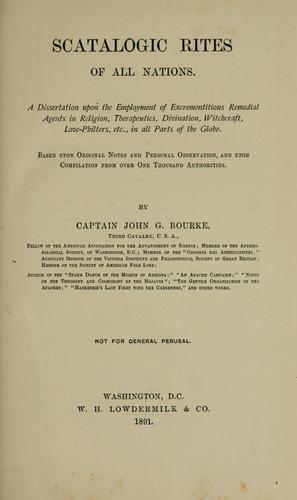 Scatalogic Rites of All Nations (Paperback, 2003, Kessinger Publishing)